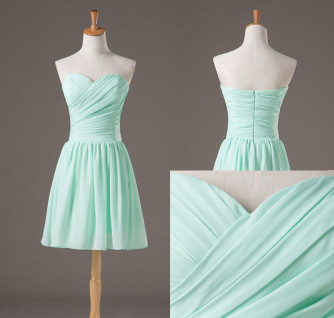 Backless Pretty And Cute Mint Short Simple Prom Dresses