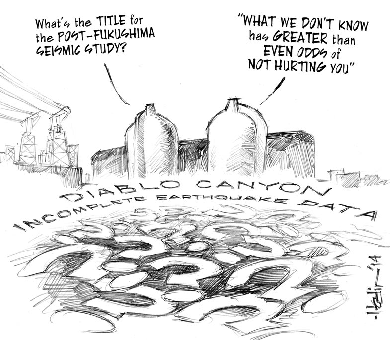 Seismic Folly editorial cartoon by Russell Hodin in The