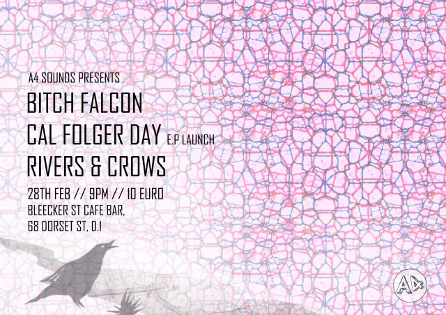 Gig Poster - Bitch Falcon, Cal Folger Day and Rivers & Crows