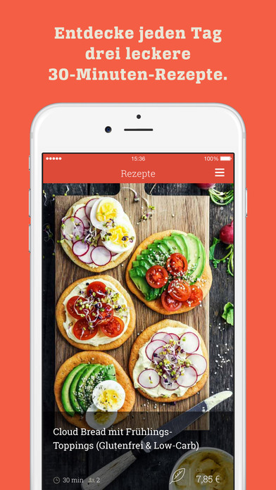 KptnCook - täglich 3 Rezepte | Einkaufen & Kochen Screenshot