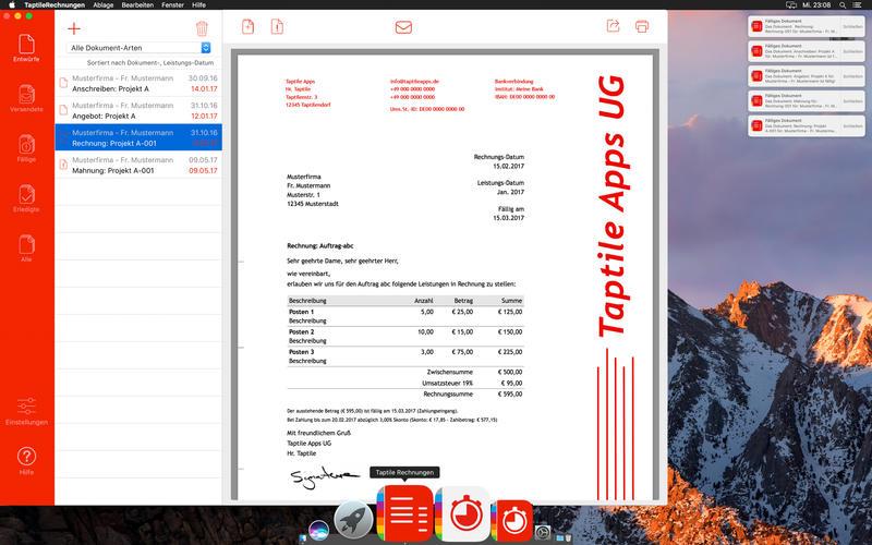 Taptile Rechnungen Screenshot