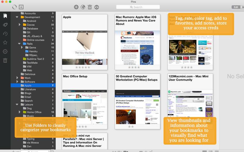 Pins for Mac 2.1.3 破解版 - 优秀的书签管理工具