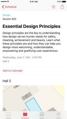 Apple has update its official WWDC app for iOS ahead of its developer conference which kicks off next week in June 5