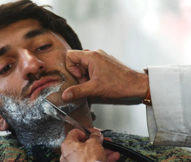 Kabul Afghanistan March 4 An Afgan Man Has His Beard Shaved At The