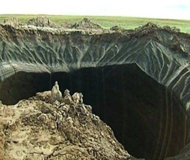 This Frame Grab Made July   Shows A Crater In The Yamal Peninsula
