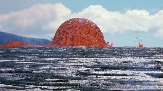 "A ""rare"" lava-dome fountain spews lava in Hawaii on October 11, 1969."