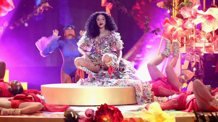 Cardi B performs onstage during the 2018 American Music Awards at Microsoft Theater on October 9, 2018 in Los Angeles, California.
