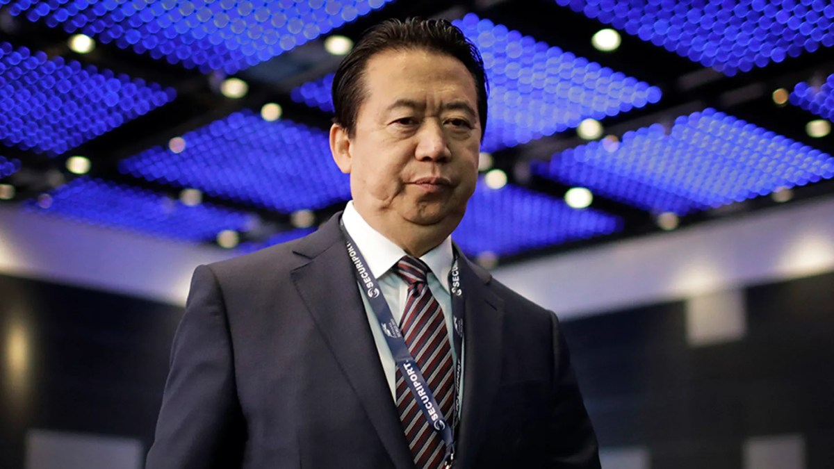 Meng Hongwei at the 2017 Interpol World congress in Singapore.