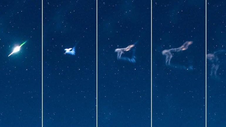 Eine Komposition aus dem seltenen Moment, in dem ein Meteor explodiert und sich dann in den Nachthimmel oberhalb von Clun Castle in Shropshire auflöst. (Kredit: SWNS)