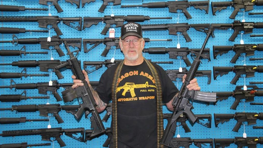 Mel Bernstein, owner of the Dragon Arms gun shop in Colorado Springs, Colo.
