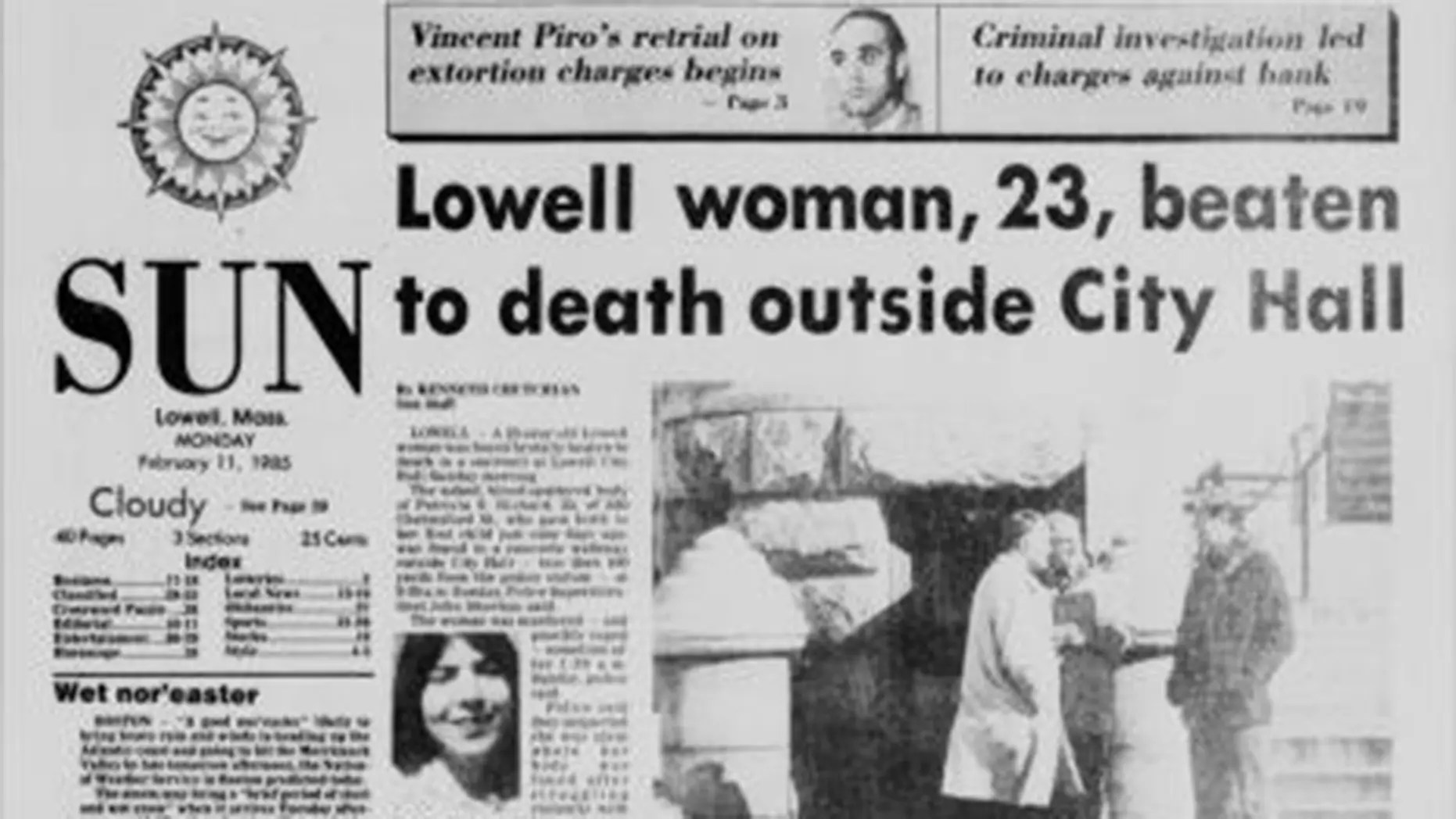Front page of Lowell Sun in 1985 reporting murder of Patricia Richard, 23.