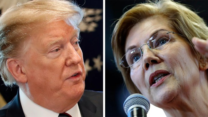 President Trump mocked Massachusetts Democratic Sen. Elizabeth Warren, who cracked open a beer on-camera and took some questions from her followers on New Year's Eve in a spontaneous livestream posted on Instagram that channeled similar social-media efforts of the young and hip. (AP)