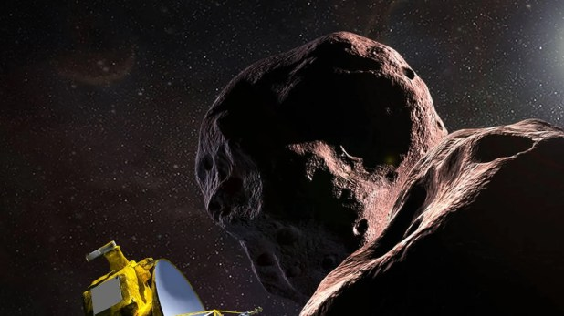 Artist rendering of New Horizons' approach to Ultima Thule.