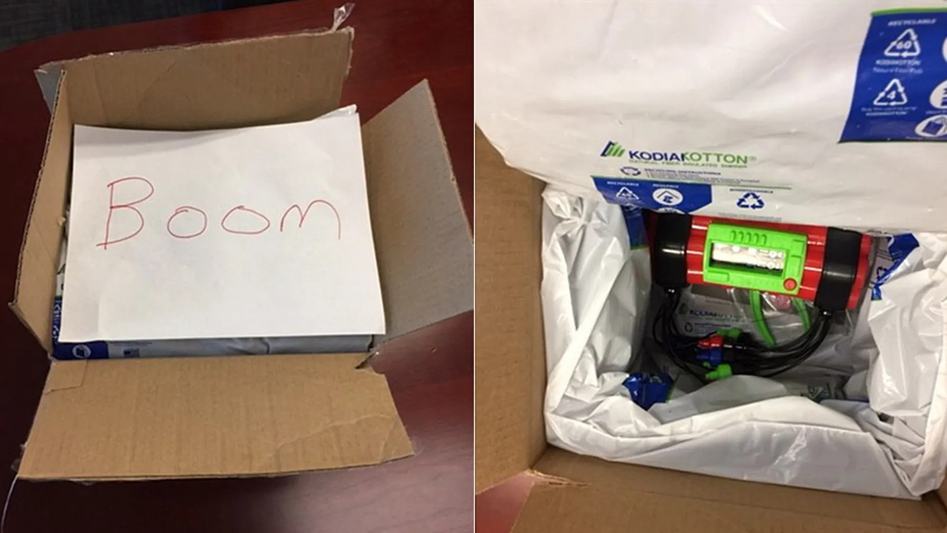 """The toy bomb was insulated with plastic packaging and contained a red cylinder-shaped object with protruding wires, along with a handwritten note with the word """"boom."""""""