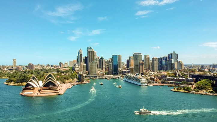 The body of a woman was found in the bathroom of a luxury charter boat in Sydney on Saturday.