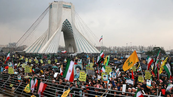 Iranians attend a ceremony celebrating the 40th anniversary of the Islamic Revolution, at the Azadi, or Freedom Tower, in Tehran, Iran, Monday, Feb. 11.