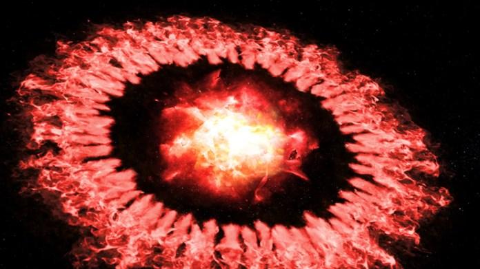 Das Konzept des Künstlers zeigt Supernova 1987A, als die kraftvolle Druckwelle durch ihren äußeren Ring tritt und den größten Teil ihres Staubes zerstört, bevor sich der Staub neu formiert oder schnell wächst.