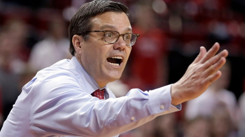 Nebraska coach Tim Miles yells instructions during the second half of an NCAA college basketball game against Iowa in Lincoln, Neb., Sunday, March 10, 2019.