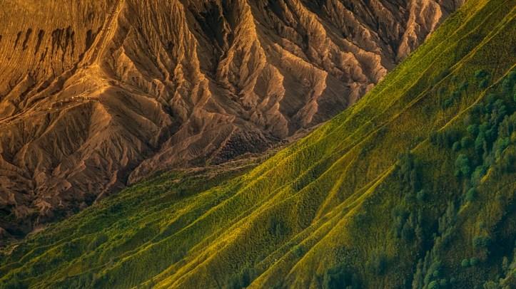 Here, the ridges of Batok and Bromo volcanoes in Indonesia.