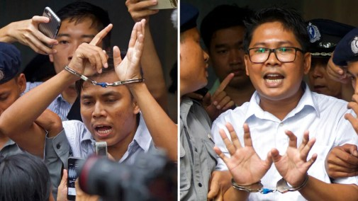 Image result for Jailed Reuters journalists freed in Myanmar