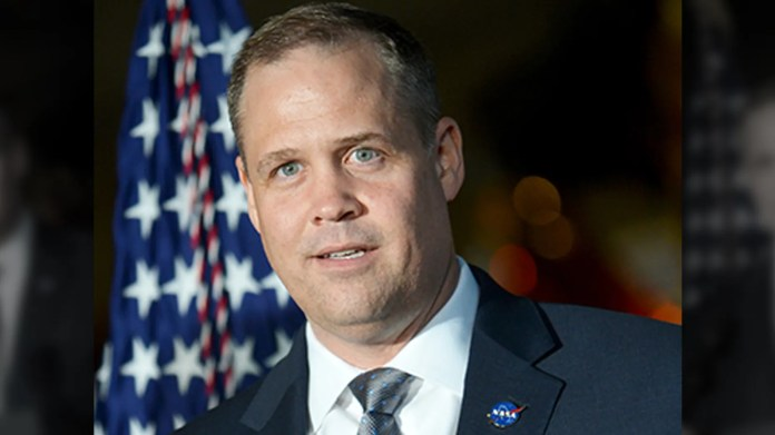 """NASA Administrator Jim Bridenstine, pictured here, said the longtime head of NASA's human spaceflight programs has been replaced because """"it's time to move on."""""""