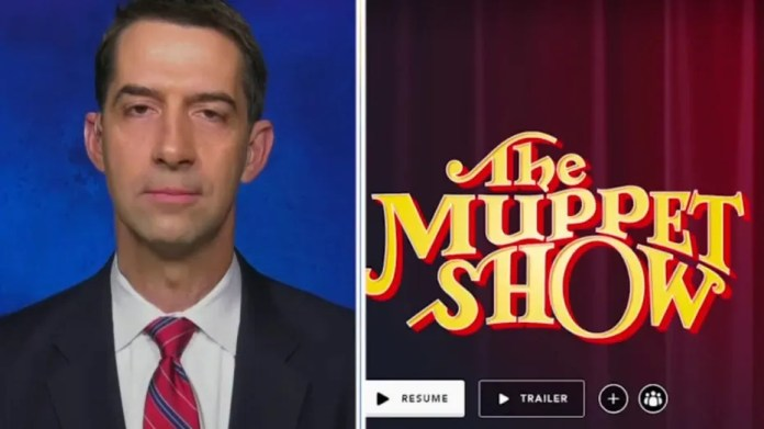 Cotton called for Disney's double standard after adding a disclaimer for 'The Muppet Show'