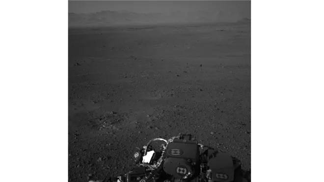 This image released by NASA on Wednesday Aug. 8, 2012 taken by cameras aboard the Curiosity rover shows the Martian horizon. It's one of dozens of images that will be made into a panorama.