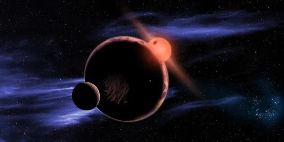 This artist's conception shows a hypothetical habitable planet with two moons orbiting a red dwarf star. Astronomers have found that 6 percent of all red dwarf stars have an Earth-sized planet in the habitable zone, which is warm enough for liq (David A. Aguilar (CfA))