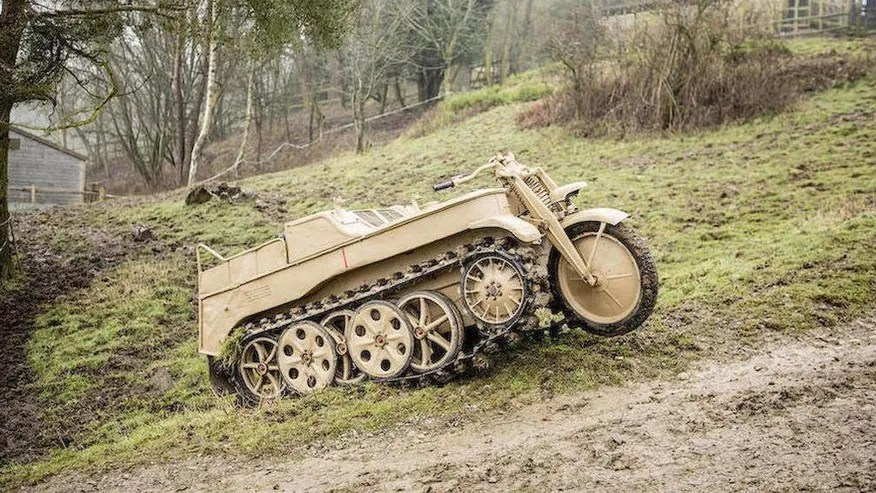 WWII German 'Kettenkrad' Motorcycle Half Track Being