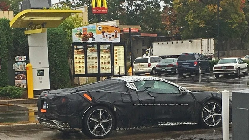 Mid-engine Chevrolet Corvette caught at McDonalds
