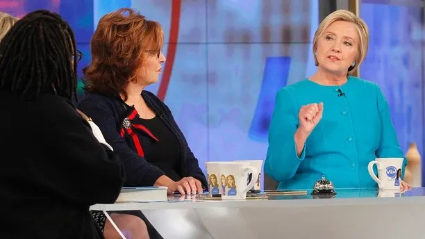 "THE VIEW - Hillary Clinton is the guest Wednesday, September 13, 2017 on ABC's ""The View."" ""The View"" airs Monday-Friday (11:00 am-12:00 pm, ET) on the ABC Television Network. (ABC/Lou Rocco) WHOOPI GOLDBERG, JOY BEHAR, HILLARY CLINTON"