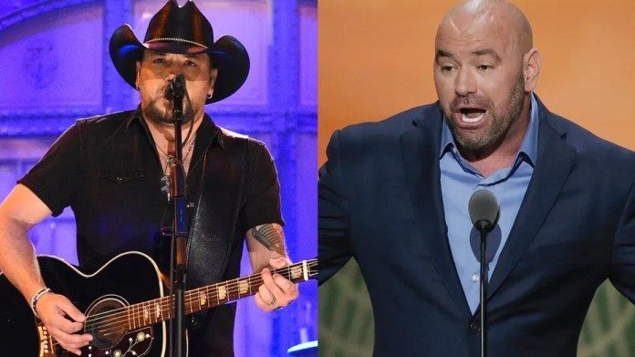 "Jason Aldean (left) performs ""I Won't Back Down"" by Tom Petty on ""Saturday Night Live"" in a tribute to the victims of the mass shooting in Las Vegas during a country music festival. Dana White (right) accused the country singer of snubbing the victims by turning down an appearance at UFC 216 in Las Vegas."
