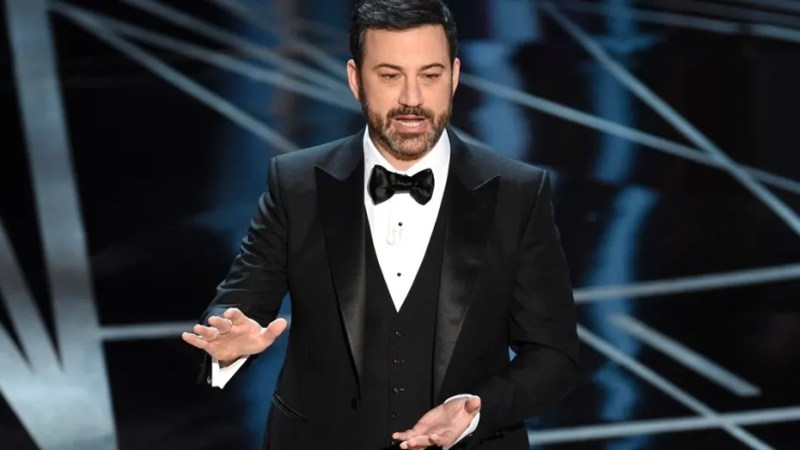Host Jimmy Kimmel speaks at the Oscars on Sunday, Feb. 26, 2017, at the Dolby Theatre in Los Angeles.
