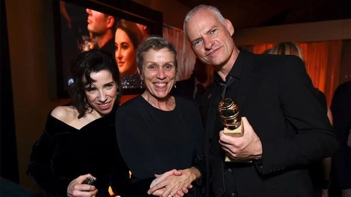 IMAGE DISTRIBUTED FOR JANUARY IMAGES - From left, Sally Hawkins, Frances McDormand, and Martin McDonagh attend FOX 2018 Golden Globes After Party at The Beverly Hilton on Sunday, Jan. 7, 2018, in Beverly Hills, Calif. (Photo by Jordan Strauss/Invision for January Images/AP Images)