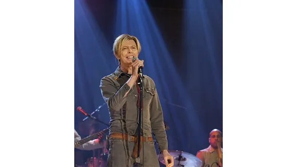 Picture shows_Archive image of David Bowie performing Ziggy Stardust and The Loneliest Guy on the chat show hosted by Michael Parkinson after an interview in 2003 (id number - hi000432074)