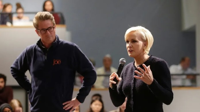 """""""Morning Joe"""" co-host Mika Brzezinski's friends didn't want to admit they were American during a recent trip abroad."""