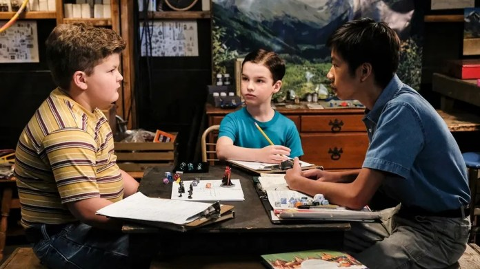 """""""Demons, Sunday School, and Prime Numbers"""" - Pictured: Billy Sparks (Wyatt McClure), Sheldon (Iain Armitage) and Tam (Ryan Phuong). A worried Mary sends Sheldon to Sunday school after she finds him playing Dungeons and Dragons with his friends Tam and Billy, on YOUNG SHELDON, Thursday, Jan. 11 (8:31-9:01 PM, ET/PT) on the CBS Television Network. Billy Gardell guest stars as Billy Sparks' father, Herschel. Photo: Darren Michaels/Warner Bros. Entertainment Inc. © 2017 WBEI. All rights reserved."""
