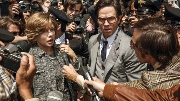 """FILE - This image released by Sony Pictures shows Michelle Williams, left, and Mark Wahlberg in TriStar Pictures' """"All The Money in the World."""" After an outcry over a significant disparity in pay with Williams, Wahlberg has agreed to donate the $1.5 million he earned for reshoots on the movie to the anti-sexual misconduct initiative Time's Up, in Williams' name, announced Saturday, Jan. 13, 2018. (Fabio Lovino/Sony-TriStar Pictures via AP)"""