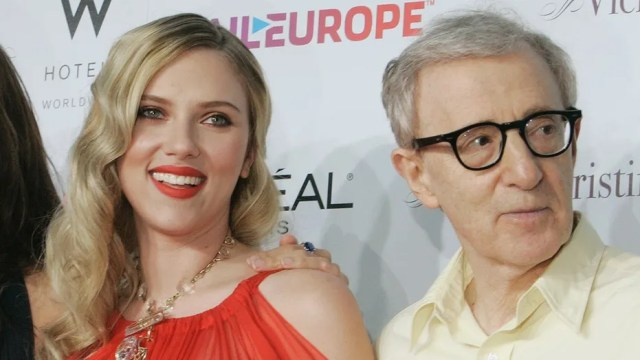 Scarlett Johansson, seen here with director Woody Allen in 2008, is being slammed by fans on social media for defending Allen even though she called out James Franco.