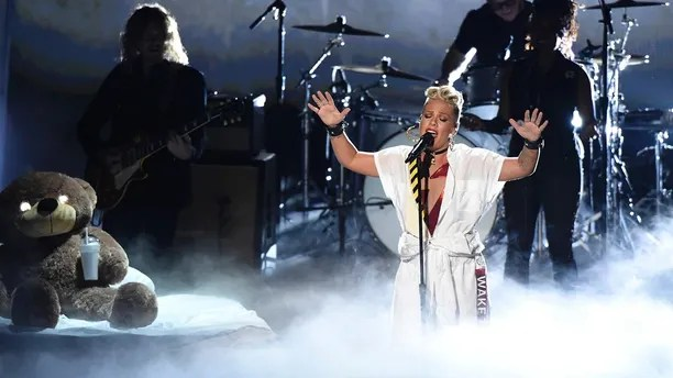 Pink performs a medley at the MTV Video Music Awards at The Forum on Sunday, Aug. 27, 2017, in Inglewood, Calif.