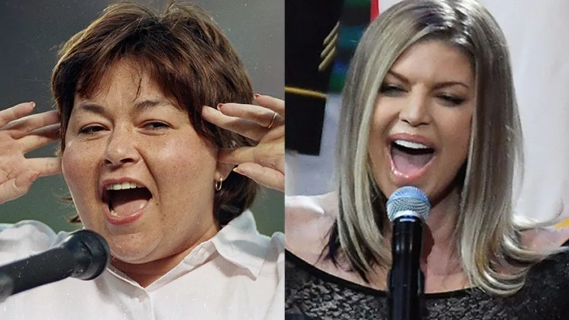 Roseanne Barr, who sang the national anthem in 1990 (left), compared her performance to Fergie's 2018 performance at the Feb. 18 All-Star game.