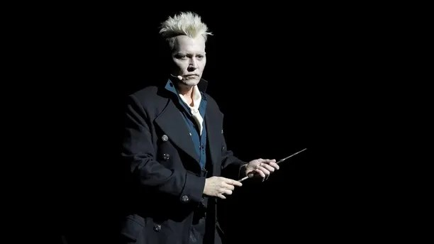 Johnny Depp appears in character as Gellert Grindelwald at the Warner Bros. Theatrical panel for