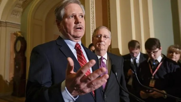 Jan. 29, 2015: Sen. John Hoeven, R-N.D., sponsor of the Keystone XL pipeline bill, right, joined by Senate Majority Leader Mitch McConnell of Ky., talks to reporters on Capitol Hill.