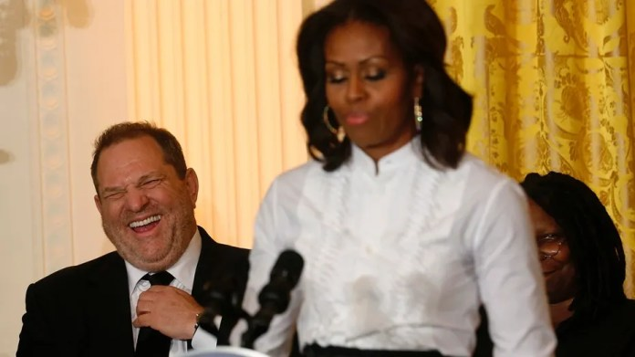 """Then-first lady Michelle Obama praised Harvey Weinstein, in background, in 2013 as """"a wonderful human being, a good friend and just a powerhouse."""""""