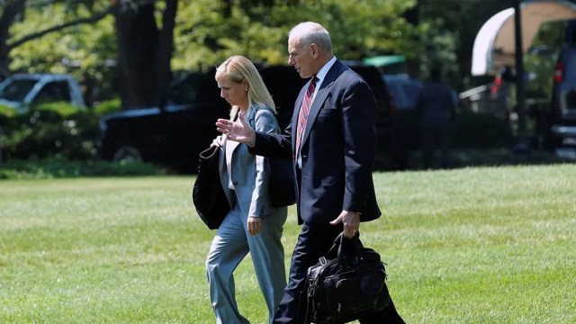 Kirstjen Nielsen, left, will be nominated to replace her former boss, John Kelly, as Secretary of Homeland Security.