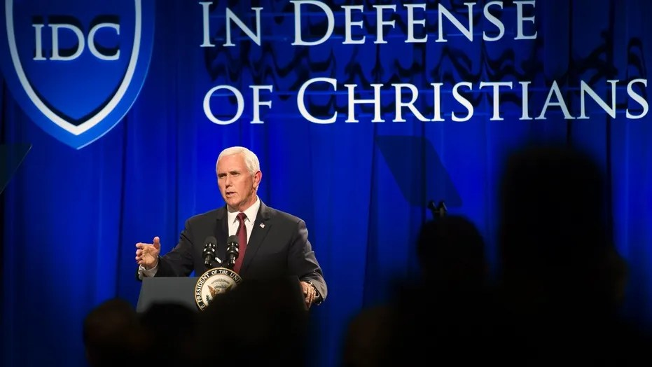 Vice President Mike Pence addresses the In Defense of Christians (IDC) national advocacy summit in Washington Wednesday