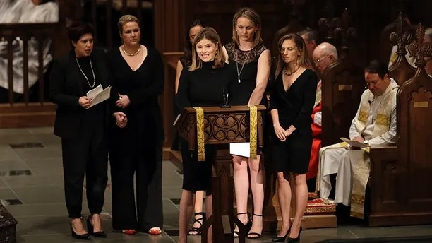 Jenna Bush Hager speaks during a funeral service for her grandmother, former first lady Barbara Bush at St. Martin's Episcopal Church, Saturday, April 21, 2018, in Houston. (AP Photo/David J. Phillip , Pool)