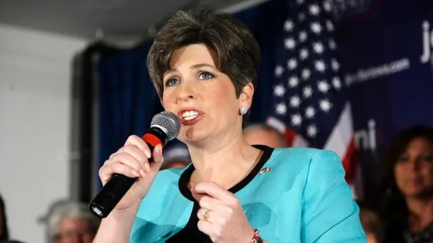 State Sen. Joni Ernst speaks to supporters at a primary election night rally after winning the Republican nomination for the U.S. Senate.