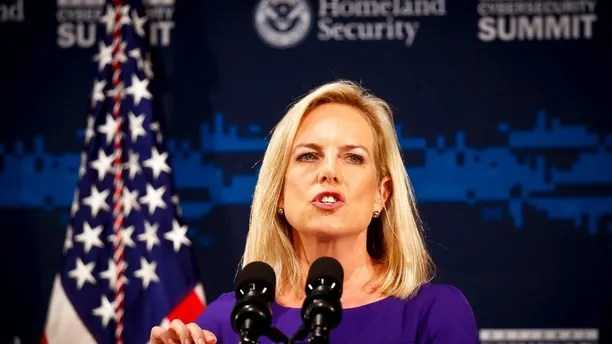 Secretary of Homeland Security Kirstjen Nielsen address the Department of Homeland Security (DHS) National Cybersecurity Summit, Tuesday, July 31, 2018, in New York. (AP Photo/Bebeto Matthews)