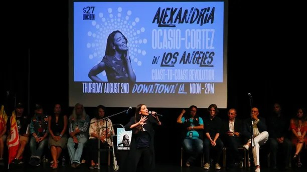 New York congressional candidate Alexandria Ocasio-Cortez addresses supporters at a fundraiser Thursday, Aug. 2, 2018, in Los Angeles. The 28-year-old startled the party when she defeated 10-term U.S. Rep. Joe Crowley in a New York City Democratic primary. Her trip to California comes at a time when the state's Democratic Party has been contending with friction between its establishment and liberal wings. (AP Photo/Jae C. Hong)